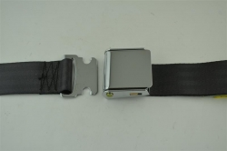 "Black 60"" Chrome Lift Buckle 2 Point Seat Belt"