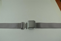 "Gray 60"" Chrome Lift Buckle 2 Point Seat Belt"