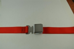 "Flame Red 60"" Chrome Lift Buckle 2 Point Seat Belt"