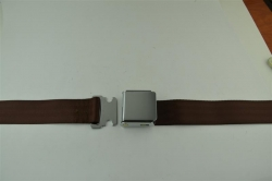 "Dark Brown 60"" Chrome Lift Buckle 2 Point Seat Belt"