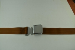 "Brown 60"" Chrome Lift Buckle 2 Point Seat Belt"