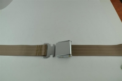 "Med. Beige 60"" Chrome Lift Buckle 2 Point Seat Belt"